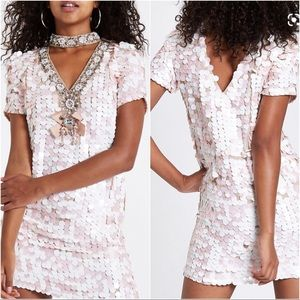NWT ASOS Pink Sequin Embellished Swing Shift Dress